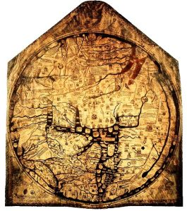 The Hereford mappamundi was made in around 1300 from a single sheet of calf skin. It measures 1.59 x 1.34 m.