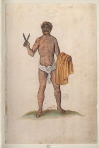 Lucas de Heere, 'The Naked Englishman' from Théâtre de tous les peuples et nations de la terre  (painted manuscript, folios 325 x 215 mm) c. 1567-81. University Library of Ghent, Ghent.