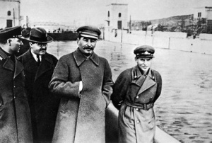 Nikolai Yezhov (right) was later edited out of the photograph