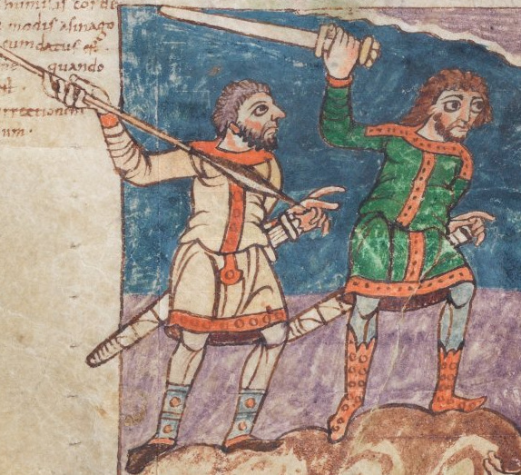 Two Frankish warriors from the Stuttgart Psalter