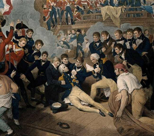 V0006852 The death of Lord Nelson on the quarter deck aboard HMS Vict