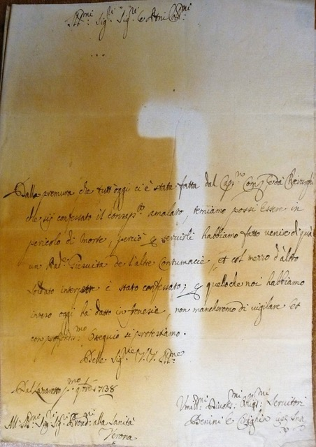 13. A fumigated letter from the Lazzaretto in Verona